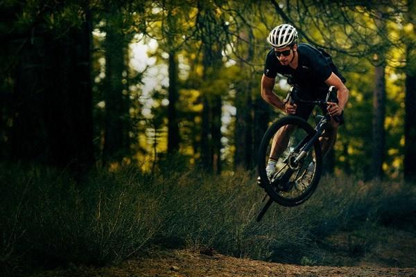 gravel bike rider getting some air