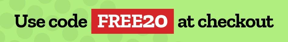 Use code: FREE20 at checkout