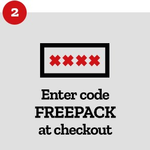 Step 2: Enter Code FREEPACK at Checkout