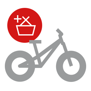 """A bicycle icon with """"add to basket"""" icon"""