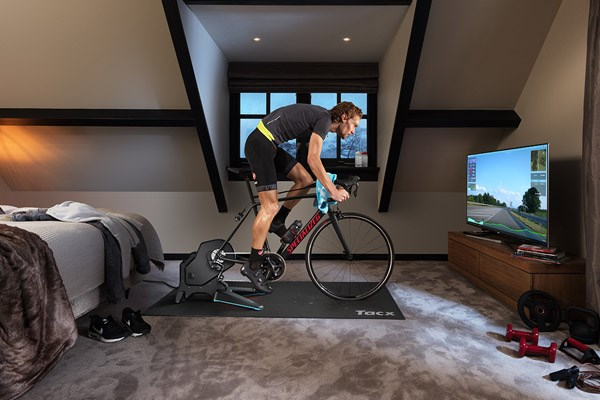 A Tacx smart turbo trainer being used with interactive training software