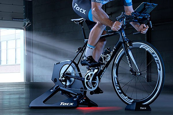 indoor cycing on a smart turbo trainer