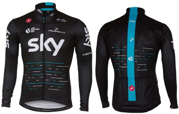 Castelli Team Sky Thermal Full Zip Cycling Long Sleeve Jersey