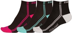 Endura Coolmax Womens Striped Socks (3 Pack)