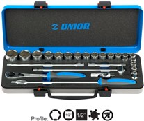 "Unior Socket Set 1/2"" in Metal Box - 190BI6P24"