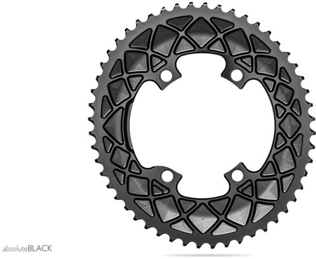 absoluteBLACK Oval 110BCD 4 Bolt 2X Asymmetric Shimano 9100/8000