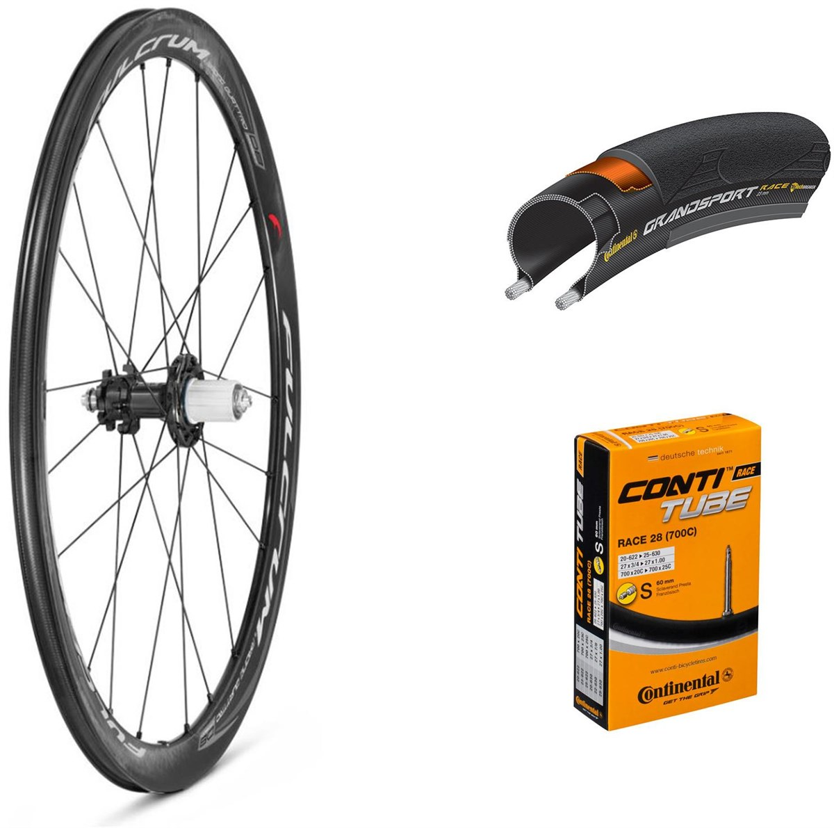 Fulcrum Racing Quattro Carbon Disc 700c Wheelset with Tyres and Tubes | Hjulsæt