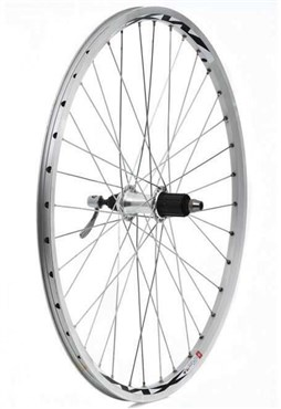 "Tru-Build 26"" MTB Rear Wheel 7spd Cassette QR Mach1 MX26 Double Wall Rim With CNC Braking Surface"