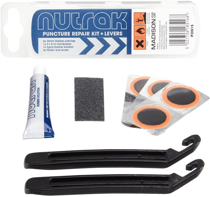 Nutrak Puncture Repair Kit & Tyre Levers (Pack of 25 - Sell as Single) | Lappegrej og dækjern