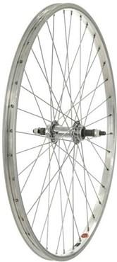 """Tru-Build 26"""" MTB Rear Wheel Steel Hub Silver Screw-On"""