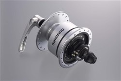 Product image for Shimano DH-3N72 6v 3.0w Quick Release Dynamo Front Hub For Use With Rim Brakes - 32h