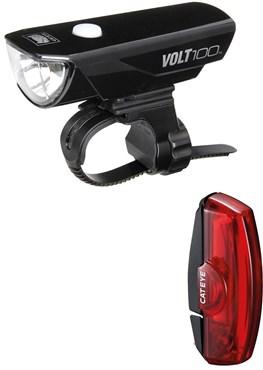 36e32570398 Cateye Volt 100 Front   Rapid Mini Rear USB Rechargeable Set - Out ...