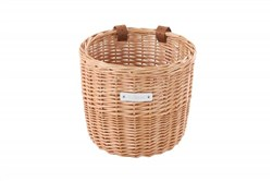 Bobbin Orchard Wicker Round Basket with Leather Straps