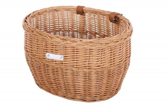 Bobbin Market Wicker Oval Basket with Leather Straps