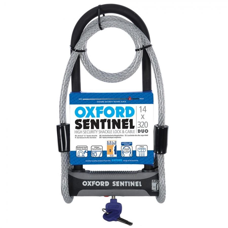 Oxford Sentinel U Lock and Cable Duo - Silver Sold Secure Rating | Combo Lock