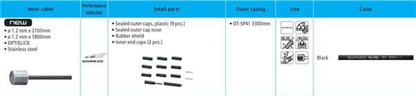 Shimano XT M8000 MTB Gear Cable Set - Optislick Coated Inners