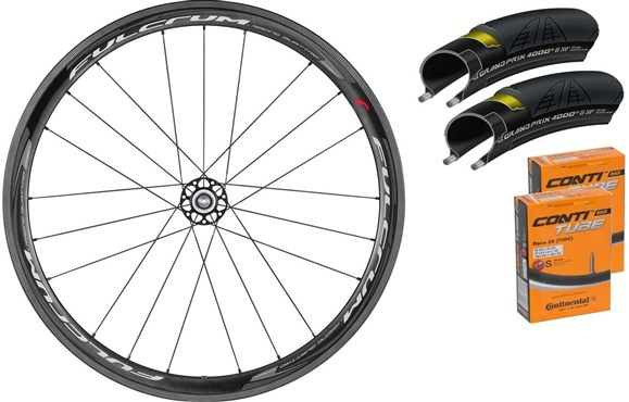 Fulcrum Racing Quattro Carbon 40mm Clincher Road Wheelset With Tyres and Tubes